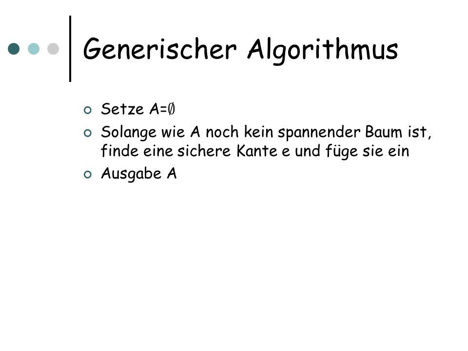 Generischer Algorithmus Setze A= ; Solange wie A noch kein spannender Baum ist, finde eine sichere Kante e und füge sie ein Ausgabe A