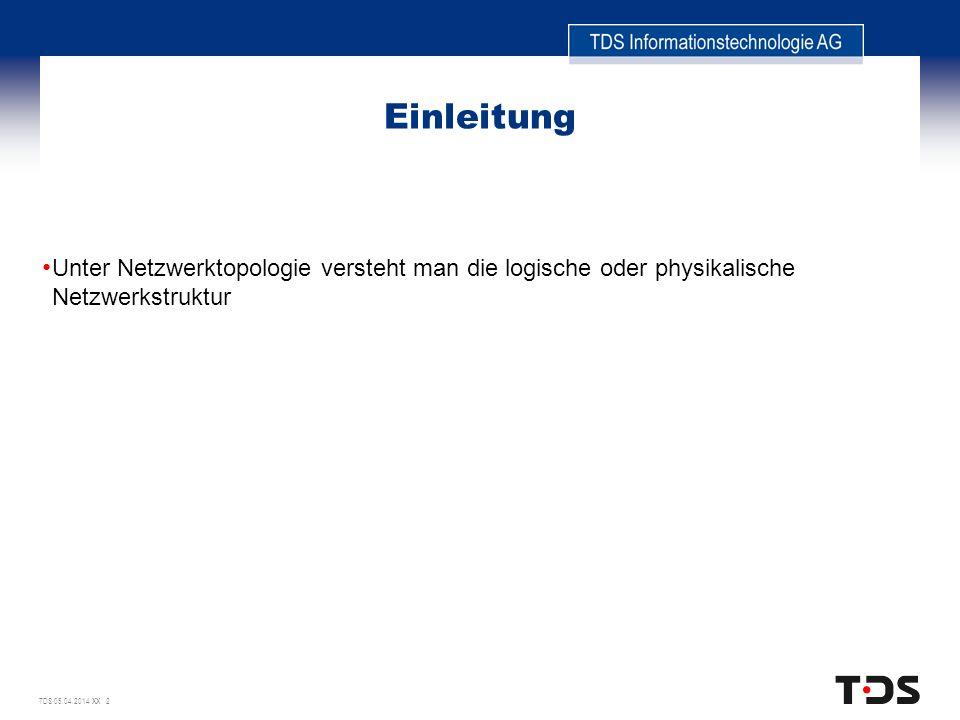 TDS 05.04.2014 XX 2 Einleitung Unter Netzwerktopologie versteht man die logische oder physikalische Netzwerkstruktur