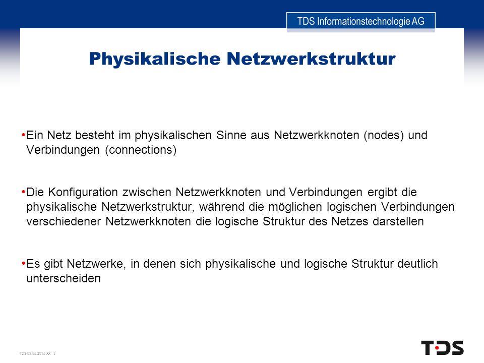 TDS 05.04.2014 XX 3 Physikalische Netzwerkstruktur Ein Netz besteht im physikalischen Sinne aus Netzwerkknoten (nodes) und Verbindungen (connections)