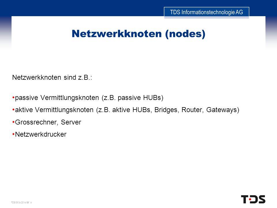 TDS 05.04.2014 XX 4 Netzwerkknoten (nodes) Netzwerkknoten sind z.B.: passive Vermittlungsknoten (z.B. passive HUBs) aktive Vermittlungsknoten (z.B. ak