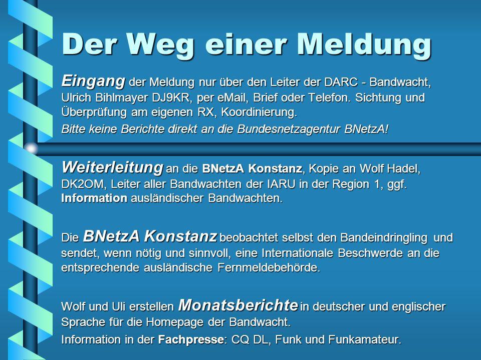 Der Weg einer Meldung Eingang der Meldung nur über den Leiter der DARC - Bandwacht, Ulrich Bihlmayer DJ9KR, per eMail, Brief oder Telefon. Sichtung un