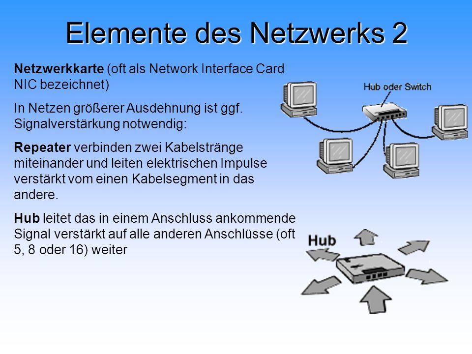 Elemente des Netzwerks 2 Netzwerkkarte (oft als Network Interface Card NIC bezeichnet) In Netzen größerer Ausdehnung ist ggf. Signalverstärkung notwen