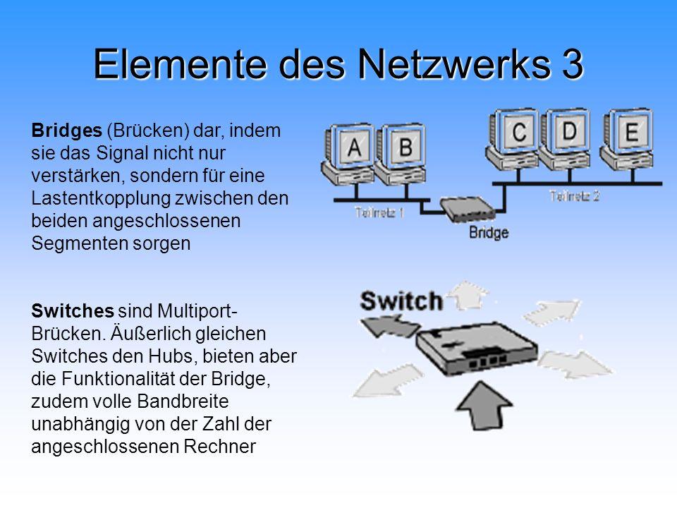 Elemente des Netzwerks 3 Bridges (Brücken) dar, indem sie das Signal nicht nur verstärken, sondern für eine Lastentkopplung zwischen den beiden angesc