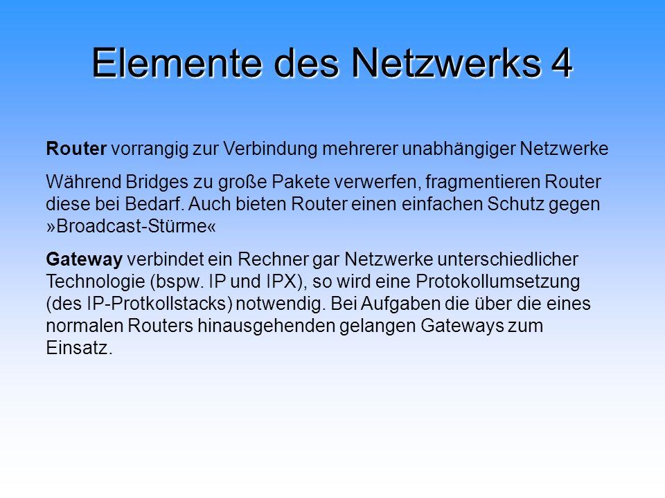 Elemente des Netzwerks 4 Router vorrangig zur Verbindung mehrerer unabhängiger Netzwerke Während Bridges zu große Pakete verwerfen, fragmentieren Rout