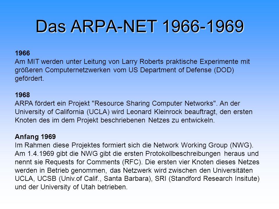 Das ARPA-NET 1966-1969 1966 Am MIT werden unter Leitung von Larry Roberts praktische Experimente mit größeren Computernetzwerken vom US Department of