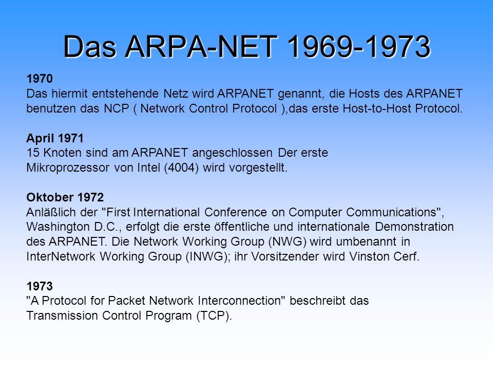 Das ARPA-NET 1969-1973 1970 Das hiermit entstehende Netz wird ARPANET genannt, die Hosts des ARPANET benutzen das NCP ( Network Control Protocol ),das