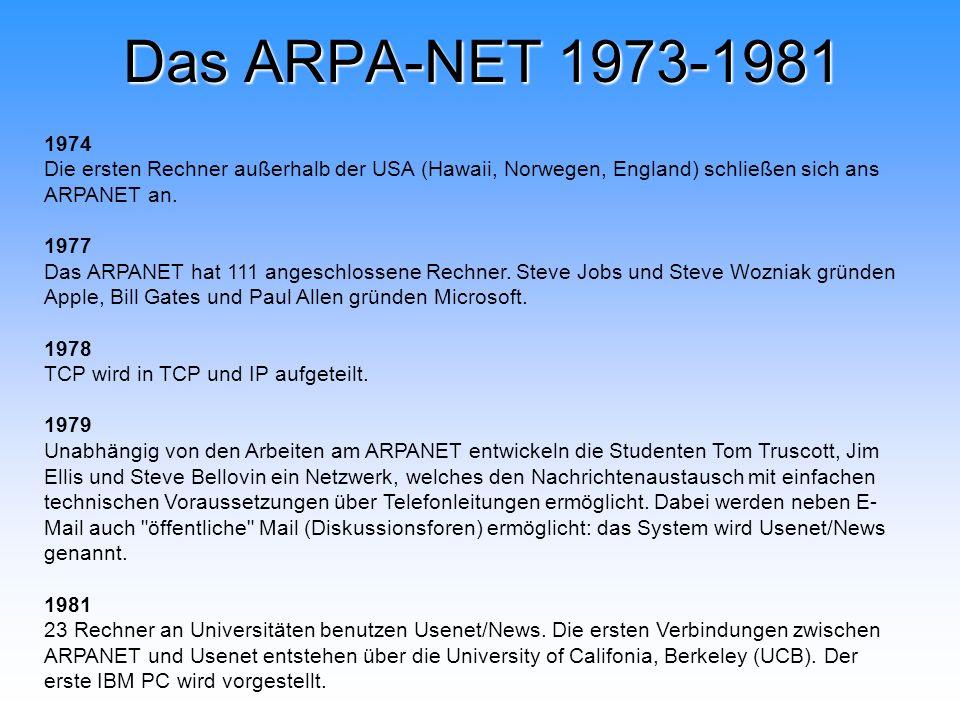 Das ARPA-NET 1973-1981 1974 Die ersten Rechner außerhalb der USA (Hawaii, Norwegen, England) schließen sich ans ARPANET an. 1977 Das ARPANET hat 111 a
