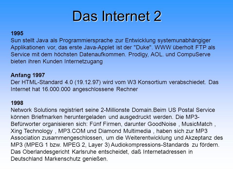 Das Internet 2 1995 Sun stellt Java als Programmiersprache zur Entwicklung systemunabhängiger Applikationen vor, das erste Java-Applet ist der