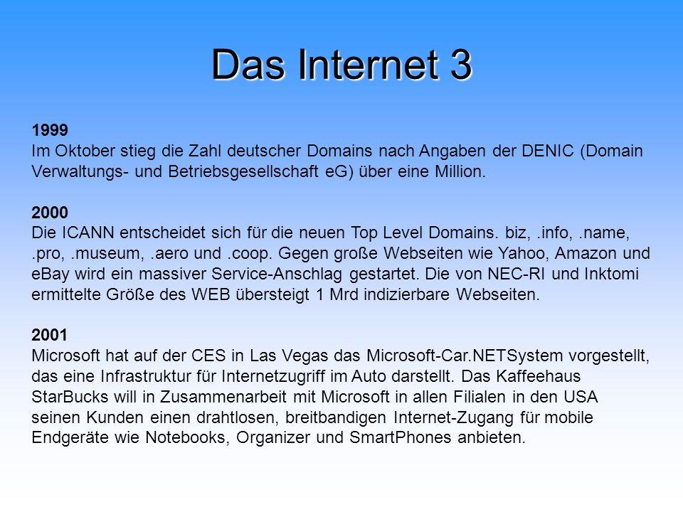 Das Internet 3 1999 Im Oktober stieg die Zahl deutscher Domains nach Angaben der DENIC (Domain Verwaltungs- und Betriebsgesellschaft eG) über eine Mil