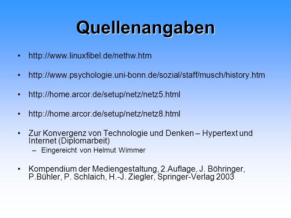 Quellenangaben http://www.linuxfibel.de/nethw.htm http://www.psychologie.uni-bonn.de/sozial/staff/musch/history.htm http://home.arcor.de/setup/netz/ne
