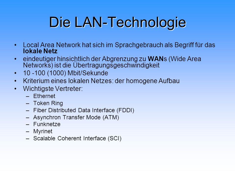 Die LAN-Technologie Local Area Network hat sich im Sprachgebrauch als Begriff für das lokale Netz eindeutiger hinsichtlich der Abgrenzung zu WANs (Wid