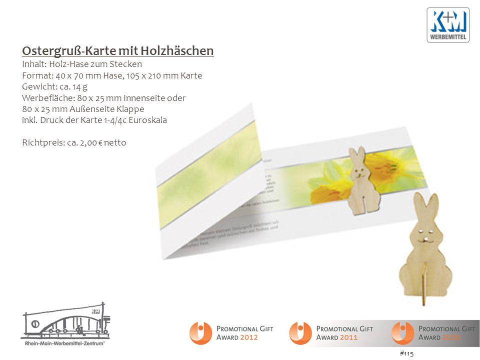 Ostergruß-Karte mit Holzhäschen Inhalt: Holz-Hase zum Stecken Format: 40 x 70 mm Hase, 105 x 210 mm Karte Gewicht: ca. 14 g Werbefläche: 80 x 25 mm In