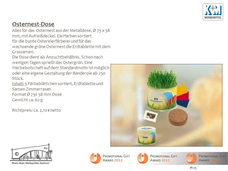 Osternest-Dose Alles für das Osternest aus der Metalldose, Ø 73 x 58 mm, mit Aufreißdeckel. Eierfarben sortiert für die bunte Ostereierfärberei und fü
