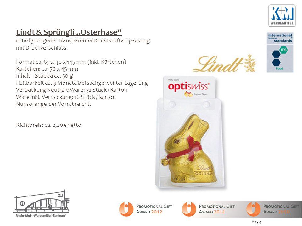 Lindt & Sprüngli Osterhase in tiefgezogener transparenter Kunststoffverpackung mit Druckverschluss. Format ca. 85 x 40 x 145 mm (inkl. Kärtchen) Kärtc