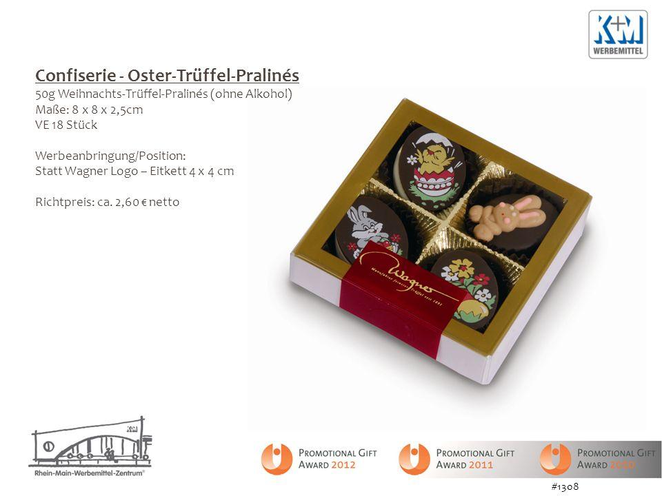 Confiserie - Oster-Trüffel-Pralinés 50g Weihnachts-Trüffel-Pralinés (ohne Alkohol) Maße: 8 x 8 x 2,5cm VE 18 Stück Werbeanbringung/Position: Statt Wag