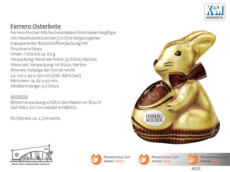 Ferrero Osterbote Ferrero Rocher Milchschokoladen-Osterhasen-Hoglfigur mit Haselnussstückchen (20 %) in tiefgezogener transparenter Kunststoffverpackung mit Druckverschluss.