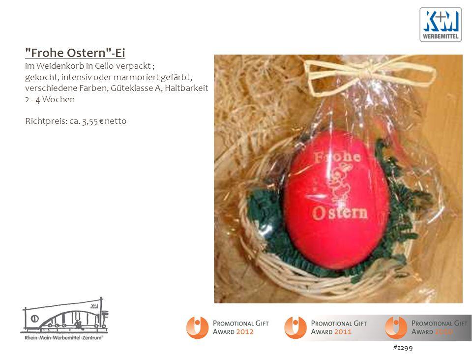 Frohe Ostern -Ei im Weidenkorb in Cello verpackt ; gekocht, intensiv oder marmoriert gefärbt, verschiedene Farben, Güteklasse A, Haltbarkeit 2 - 4 Wochen Richtpreis: ca.