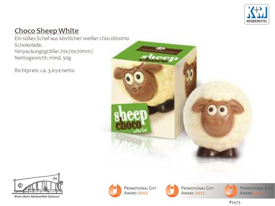 Choco Sheep White Ein süßes Schaf aus köstlicher weißer chocolissimo Schokolade. Verpackungsgröße: 70x70x70mm / Nettogewicht: mind. 50g Richtpreis: ca