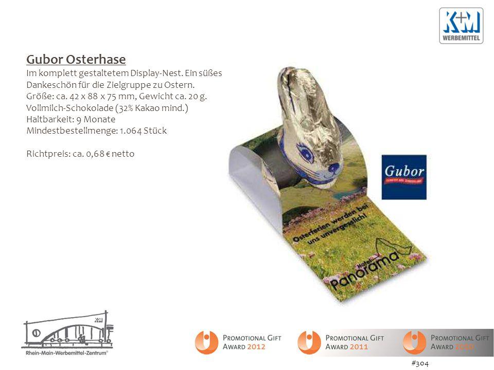 Gubor Osterhase Im komplett gestaltetem Display-Nest. Ein süßes Dankeschön für die Zielgruppe zu Ostern. Größe: ca. 42 x 88 x 75 mm, Gewicht ca. 20 g.