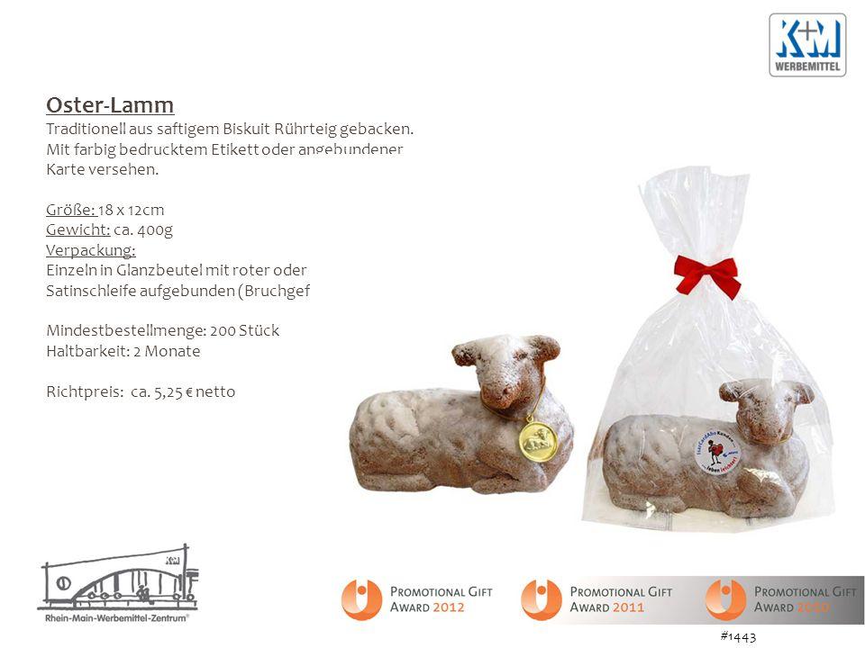 Oster-Lamm Traditionell aus saftigem Biskuit Rührteig gebacken. Mit farbig bedrucktem Etikett oder angebundener Karte versehen. Größe: 18 x 12cm Gewic