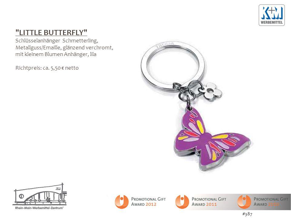 LITTLE BUTTERFLY Schlüsselanhänger Schmetterling, Metallguss/Emaille, glänzend verchromt, mit kleinem Blumen Anhänger, lila Richtpreis: ca.