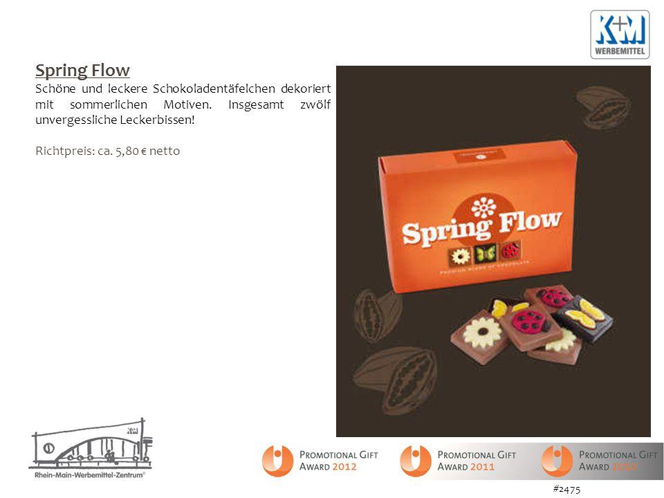Spring Flow Schöne und leckere Schokoladentäfelchen dekoriert mit sommerlichen Motiven. Insgesamt zwölf unvergessliche Leckerbissen! Richtpreis: ca. 5