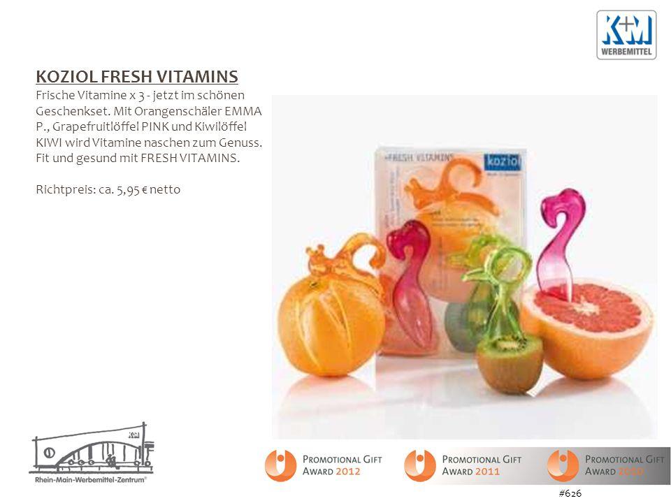 KOZIOL FRESH VITAMINS Frische Vitamine x 3 - jetzt im schönen Geschenkset. Mit Orangenschäler EMMA P., Grapefruitlöffel PINK und Kiwilöffel KIWI wird