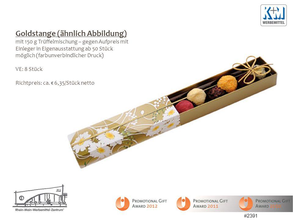 Goldstange (ähnlich Abbildung) mit 150 g Trüffelmischung – gegen Aufpreis mit Einleger in Eigenausstattung ab 50 Stück möglich (farbunverbindlicher Druck) VE: 8 Stück Richtpreis: ca.