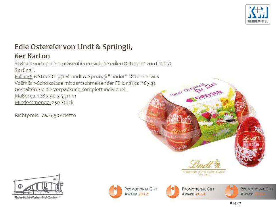 Edle Ostereier von Lindt & Sprüngli, 6er Karton Stylisch und modern präsentieren sich die edlen Ostereier von Lindt & Sprüngli.