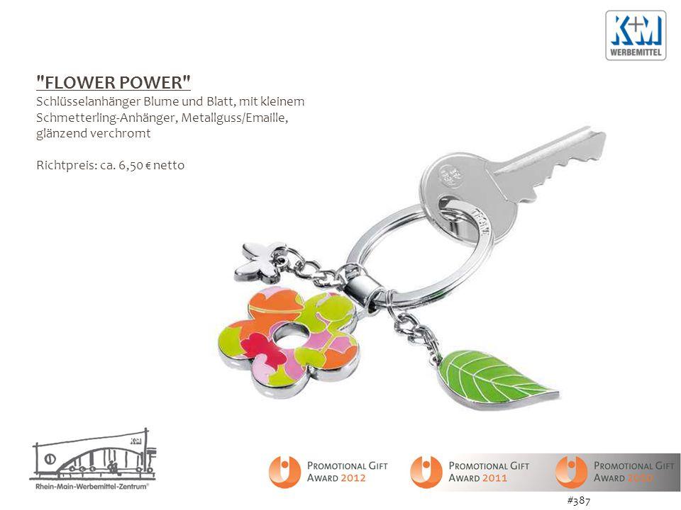 FLOWER POWER Schlüsselanhänger Blume und Blatt, mit kleinem Schmetterling-Anhänger, Metallguss/Emaille, glänzend verchromt Richtpreis: ca.