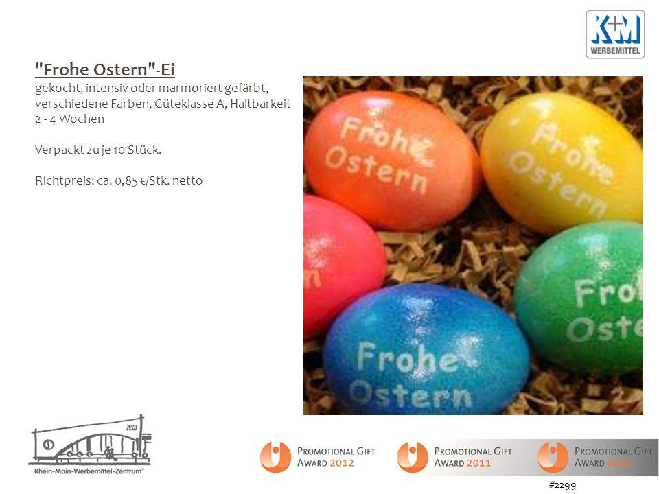 Frohe Ostern -Ei gekocht, intensiv oder marmoriert gefärbt, verschiedene Farben, Güteklasse A, Haltbarkeit 2 - 4 Wochen Verpackt zu je 10 Stück.