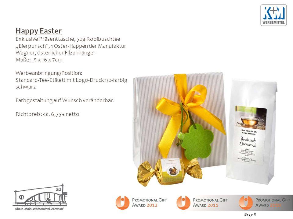 Happy Easter Exklusive Präsenttasche, 50g Rooibuschtee Eierpunsch, 1 Oster-Happen der Manufaktur Wagner, österlicher Filzanhänger Maße: 15 x 16 x 7cm Werbeanbringung/Position: Standard-Tee-Etikett mit Logo-Druck 1/0-farbig schwarz Farbgestaltung auf Wunsch veränderbar.