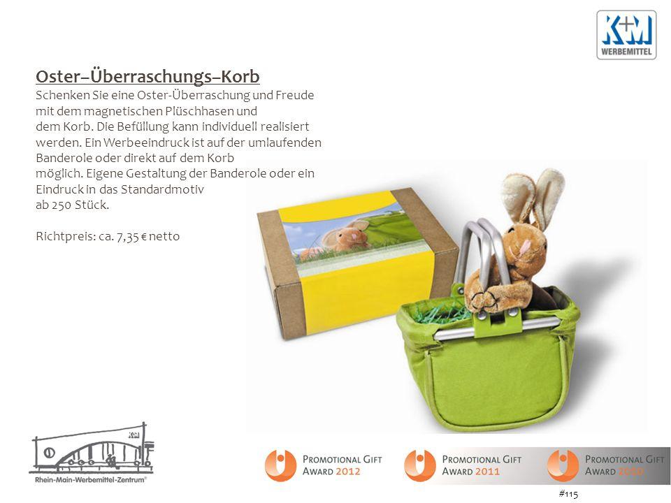 Oster–Überraschungs–Korb Schenken Sie eine Oster-Überraschung und Freude mit dem magnetischen Plüschhasen und dem Korb. Die Befüllung kann individuell