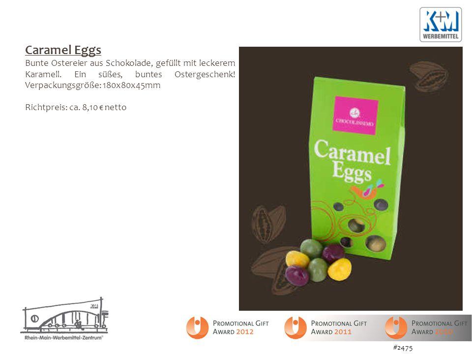 Caramel Eggs Bunte Ostereier aus Schokolade, gefüllt mit leckerem Karamell. Ein süßes, buntes Ostergeschenk! Verpackungsgröße: 180x80x45mm Richtpreis: