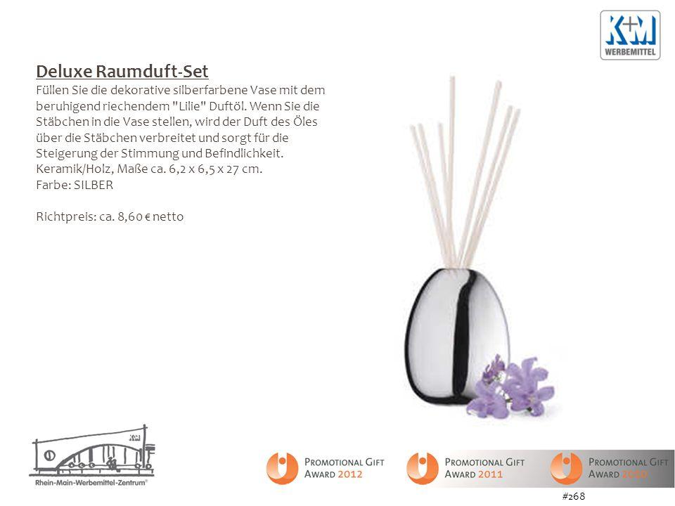 Deluxe Raumduft-Set Füllen Sie die dekorative silberfarbene Vase mit dem beruhigend riechendem