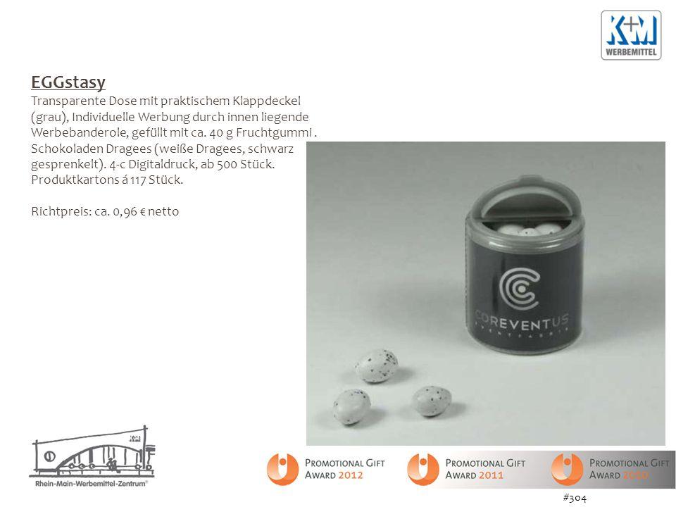 EGGstasy Transparente Dose mit praktischem Klappdeckel (grau), Individuelle Werbung durch innen liegende Werbebanderole, gefüllt mit ca. 40 g Fruchtgu