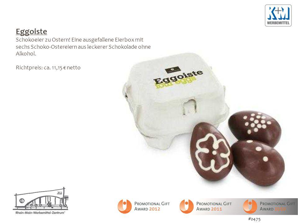 Eggoiste Schokoeier zu Ostern! Eine ausgefallene Eierbox mit sechs Schoko-Ostereiern aus leckerer Schokolade ohne Alkohol. Richtpreis: ca. 11,15 netto