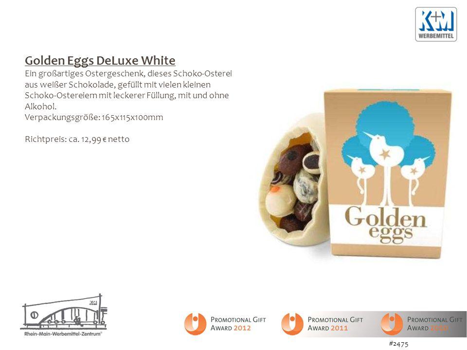 Golden Eggs DeLuxe White Ein großartiges Ostergeschenk, dieses Schoko-Osterei aus weißer Schokolade, gefüllt mit vielen kleinen Schoko-Ostereiern mit leckerer Füllung, mit und ohne Alkohol.