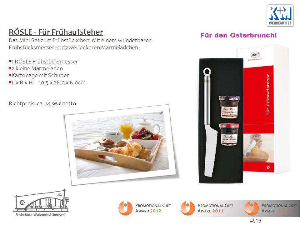 #516 RÖSLE - Für Frühaufsteher Das Mini-Set zum Frühstückchen. Mit einem wunderbaren Frühstücksmesser und zwei leckeren Marmelädchen. 1 RÖSLE Frühstüc