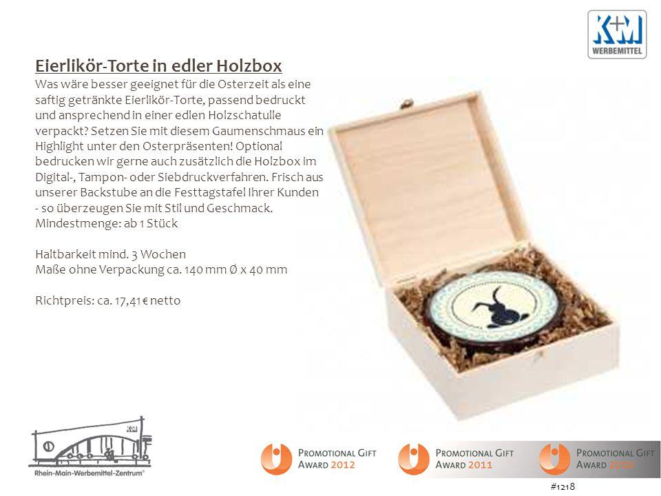 Eierlikör-Torte in edler Holzbox Was wäre besser geeignet für die Osterzeit als eine saftig getränkte Eierlikör-Torte, passend bedruckt und ansprechend in einer edlen Holzschatulle verpackt.