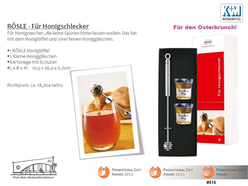 #516 RÖSLE - Für Honigschlecker Für Honignascher, die keine Spuren hinterlassen wollen: Das Set mit dem Honiglöffel und zwei feinen Honiggläschen. 1 R