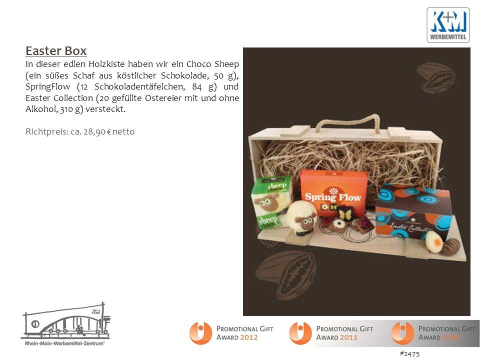 Easter Box In dieser edlen Holzkiste haben wir ein Choco Sheep (ein süßes Schaf aus köstlicher Schokolade, 50 g), SpringFlow (12 Schokoladentäfelchen, 84 g) und Easter Collection (20 gefüllte Ostereier mit und ohne Alkohol, 310 g) versteckt.