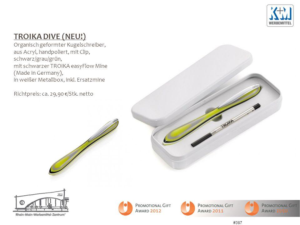 TROIKA DIVE (NEU!) Organisch geformter Kugelschreiber, aus Acryl, handpoliert, mit Clip, schwarz/grau/grün, mit schwarzer TROIKA easyFlow Mine (Made i