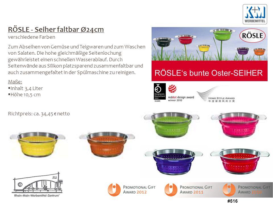 #516 RÖSLE - Seiher faltbar Ø24cm verschiedene Farben Zum Abseihen von Gemüse und Teigwaren und zum Waschen von Salaten. Die hohe gleichmäßige Seitenl
