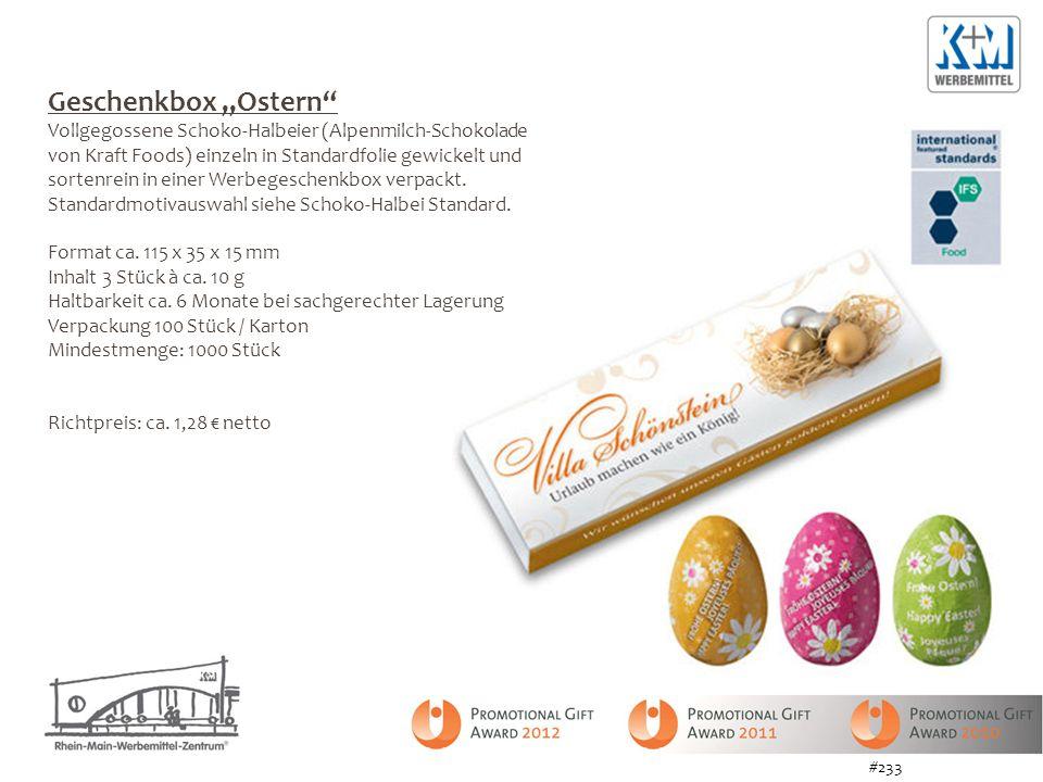 Geschenkbox Ostern Vollgegossene Schoko-Halbeier (Alpenmilch-Schokolade von Kraft Foods) einzeln in Standardfolie gewickelt und sortenrein in einer Werbegeschenkbox verpackt.
