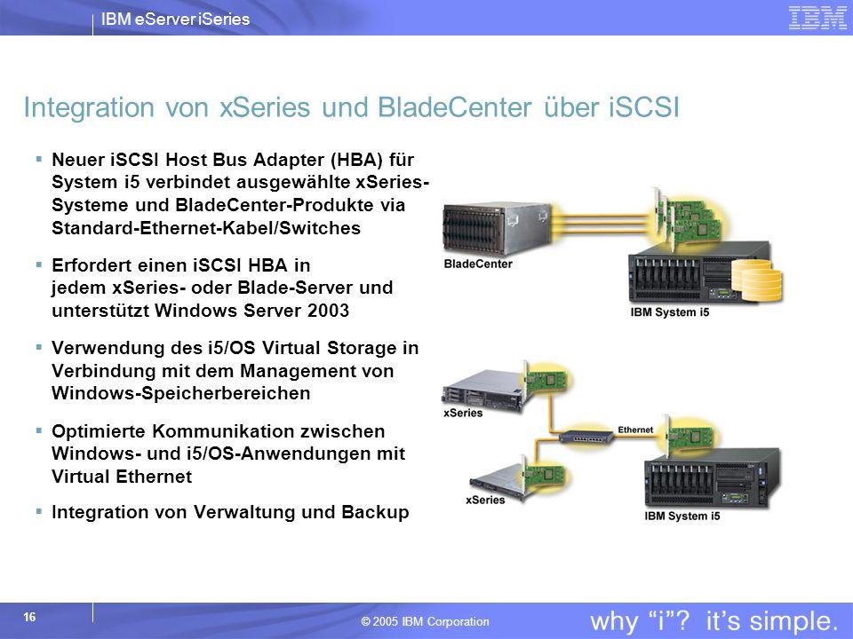 IBM eServer iSeries © 2005 IBM Corporation 16 Integration von xSeries und BladeCenter über iSCSI Neuer iSCSI Host Bus Adapter (HBA) für System i5 verbindet ausgewählte xSeries- Systeme und BladeCenter-Produkte via Standard-Ethernet-Kabel/Switches Erfordert einen iSCSI HBA in jedem xSeries- oder Blade-Server und unterstützt Windows Server 2003 Verwendung des i5/OS Virtual Storage in Verbindung mit dem Management von Windows-Speicherbereichen Optimierte Kommunikation zwischen Windows- und i5/OS-Anwendungen mit Virtual Ethernet Integration von Verwaltung und Backup