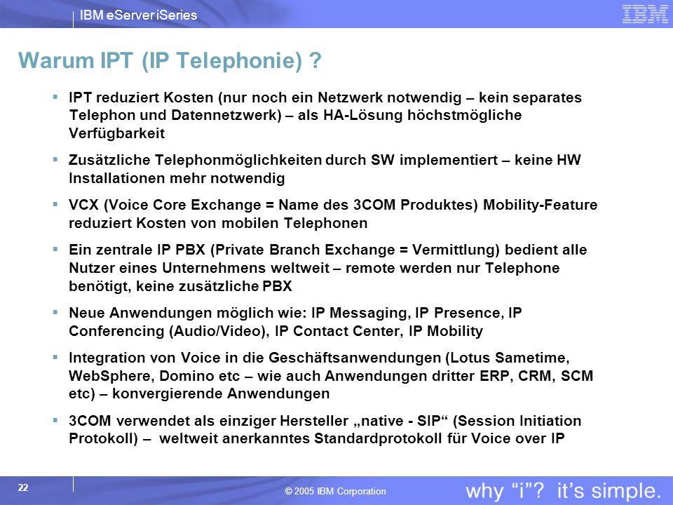 IBM eServer iSeries © 2005 IBM Corporation 22 Warum IPT (IP Telephonie) .