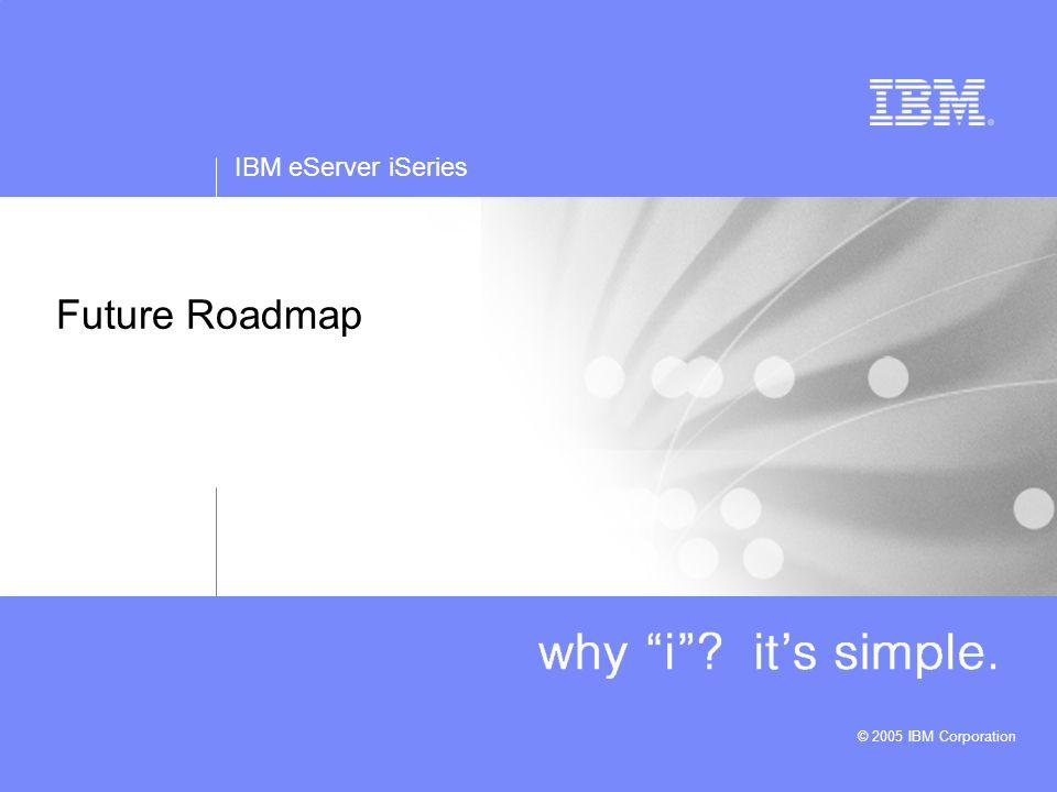 IBM eServer iSeries © 2005 IBM Corporation Future Roadmap