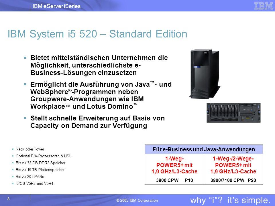 IBM eServer iSeries © 2005 IBM Corporation 8 IBM System i5 520 – Standard Edition Bietet mittelständischen Unternehmen die Möglichkeit, unterschiedlichste e- Business-Lösungen einzusetzen Ermöglicht die Ausführung von Java - und WebSphere ® -Programmen neben Groupware-Anwendungen wie IBM Workplace und Lotus Domino Stellt schnelle Erweiterung auf Basis von Capacity on Demand zur Verfügung Für e-Business und Java-Anwendungen 1-Weg- POWER5+ mit 1,9 GHz/L3-Cache 3800 CPW P10 1-Weg-/2-Wege- POWER5+ mit 1,9 GHz/L3-Cache 3800/7100 CPW P20 Rack oder Tower Optional E/A-Prozessoren & HSL Bis zu 32 GB DDR2-Speicher Bis zu 19 TB Plattenspeicher Bis zu 20 LPARs i5/OS V5R3 und V5R4