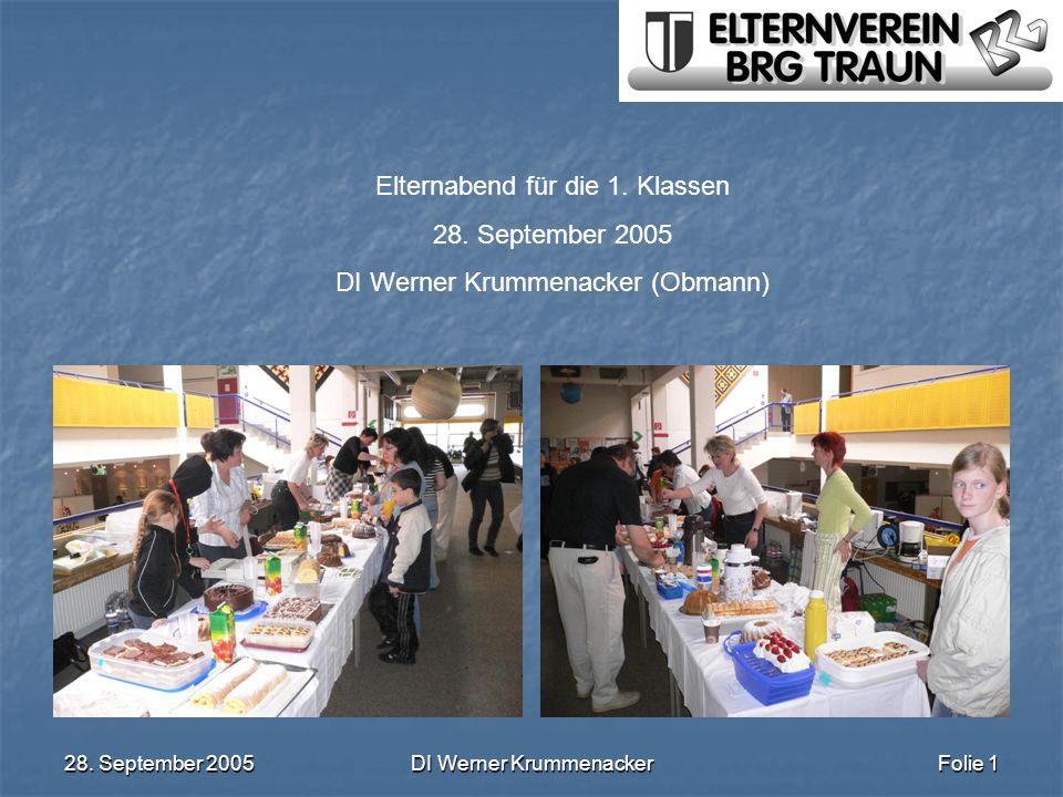 28. September 2005DI Werner KrummenackerFolie 1 Elternabend für die 1. Klassen 28. September 2005 DI Werner Krummenacker (Obmann)